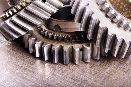 prongs: gears on metal background Stock Photo