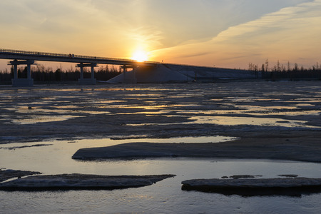 Spring landscape on the river in Siberia photo
