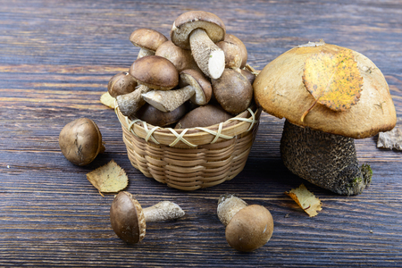 mycelium: Basket with mushrooms on a wooden background Stock Photo