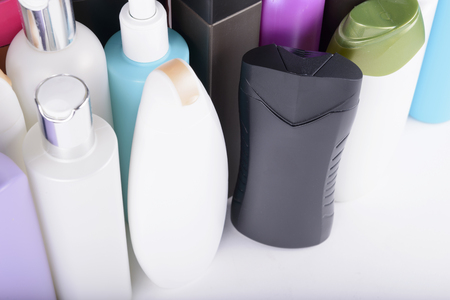 lots: Lots of plastic bottles of shampoo Stock Photo