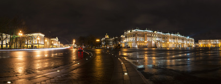hermitage: Panorama of St. Petersburg, Palace Square, Hermitage and Admiralty Stock Photo