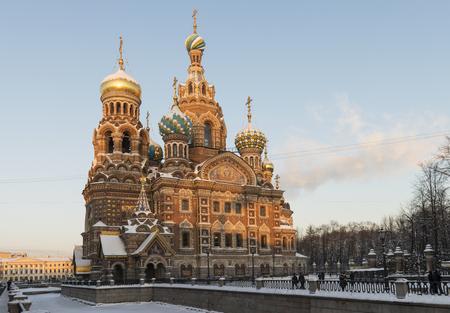 Retter auf dem Blut in St. Petersburg im Winter