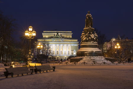 queen's theatre: Monument to Catherine the Great in St. Petersburg on a background of the Alexandrinsky Theatre