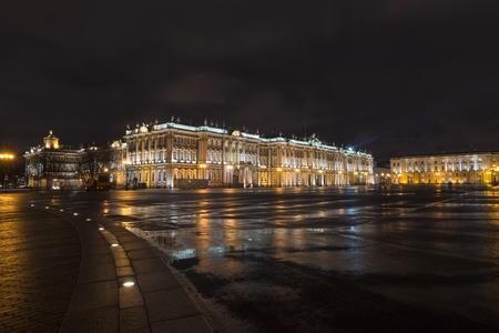 hermitage: Palace Square and Hermitage at night, Saint-Petersburg Editorial