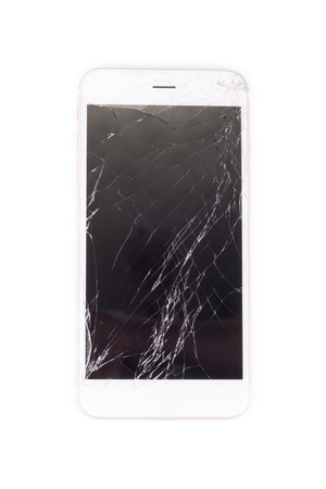 portable failure: smartphone with broken screen on white background