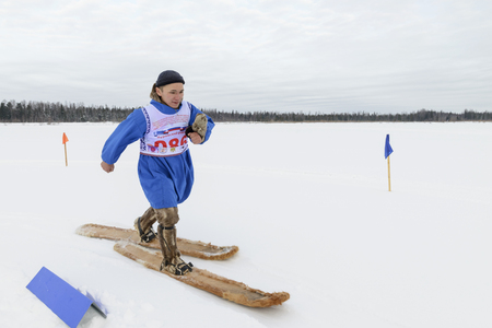 herder: Competitions in skiing among the Nenets reindeer herder Day, the Yamal Peninsula Editorial