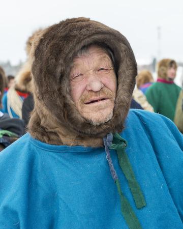 elderly nenets in national clothes, malitsa. The Yamal Peninsula