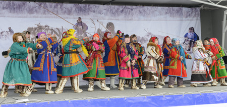 Nenets children sing and dance on the national holiday on the Yamal Peninsula
