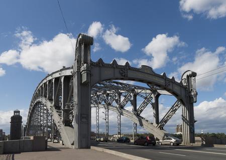 st  petersburg: Bolsheokhtinsky Bridge in St. Petersburg, Emperor Peter the Great Bridge