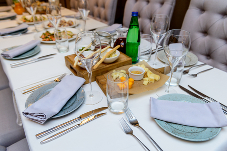 Nice restaurant food. Serving the table with a variety of food