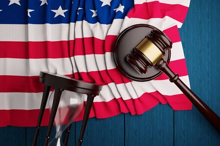 The judge's hammer,the US flag, and an hourglass lie on a blue wooden table.3D rendering. Stockfoto