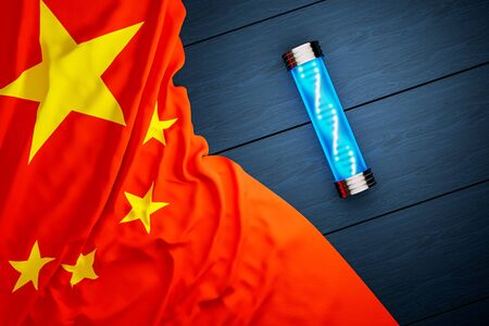 The flag of China and a test tube with DNA lie on a wooden table, the concept of a virus or antivirus, an epidemic in China.3D rendering. 写真素材