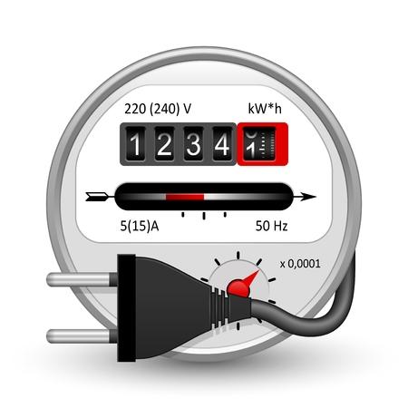 Compteur d'électricité | Icône de service public de vecteur sur blanc Vecteurs