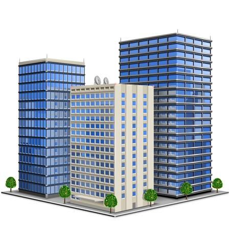 Illustration de l'immeuble de bureaux 3d de vecteur