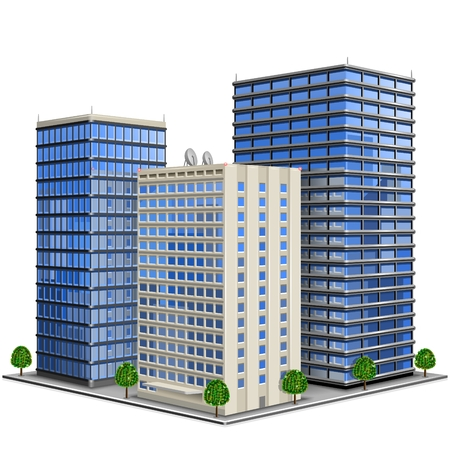 Vektorillustration des Bürogebäudes 3d
