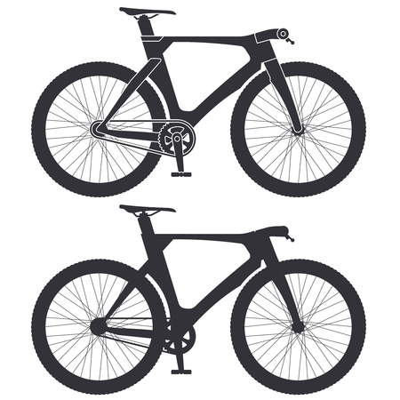 Vector bicycle black silhouette  イラスト・ベクター素材