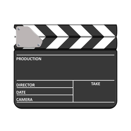 Clapperboard vector illustration   Realistic clapperboard vector icon isolated on white