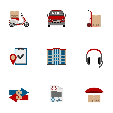 Delivery and Logistic flat icon set | Shipping vector color illustration