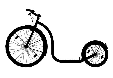 Kickbike vector illustration | Foot bike scooter black silhouette