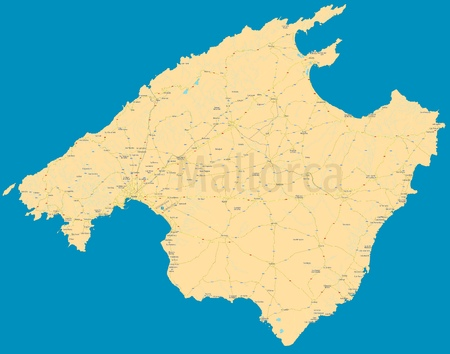 Mallorca (Majorca) political map. High detail color vector island. All elements are separated in editable layers: cities & cities names, roads, railways, rivers, lakes, highway numbers. High resolution atlas.