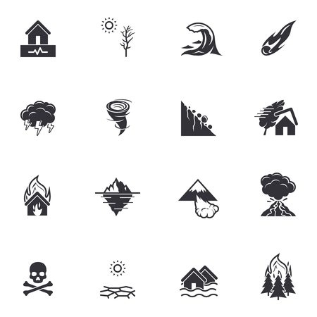 Natural disaster catastrophe icons   Black vector pictograms isolated on white Illustration