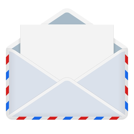 Vektor-Illustration des offenen Umschlags isoliert auf weiß Vektorgrafik
