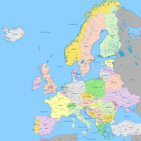 Europe political map | High detail color with capitals, cities and cities, rivers and lakes | High resolution map of Europe in Mercator projection Vectores