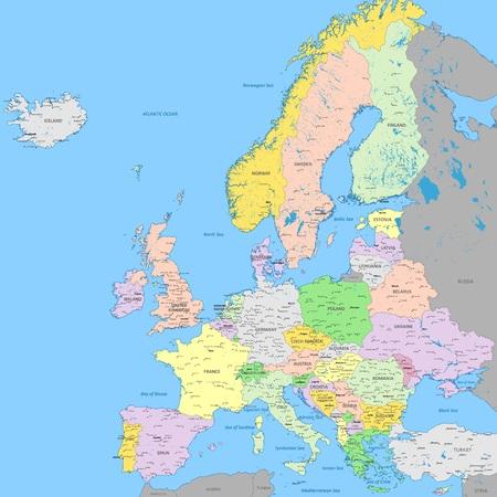 Mapa político de Europa   Color de gran detalle con capitales, ciudades y ciudades, ríos y lagos   Mapa de alta resolución de Europa en proyección Mercator Ilustración de vector