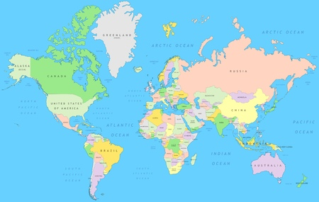 Political world map | Vector detail atlas in Mercator projection