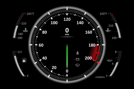 Realistic sport car speedometer icon on black background Çizim
