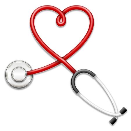 Vector 3d stethoscope-heart shape illustration Vektorové ilustrace