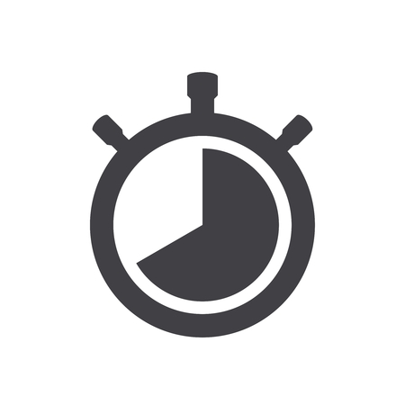 Vector stopwatch black icon isolated on white