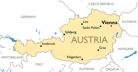 Vector detailed color Austria map Illustration