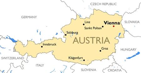 Vector detailed color Austria map 일러스트