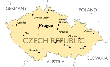 Vector detailed color Czech Republic map