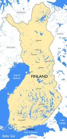 Vector detailed color Finland map