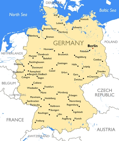 Vector detailed color Germany map
