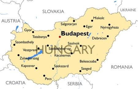 Vector detailed color Hungary map