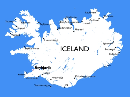 Vector detailed color Iceland map
