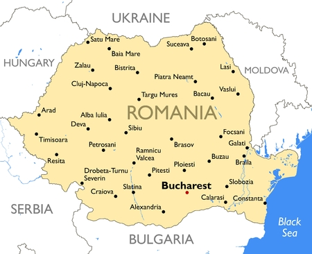 Vector detailed color Romania map