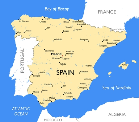 Vector detailed color Spain map