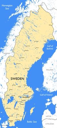 Vector detailed color Sweden map Illustration