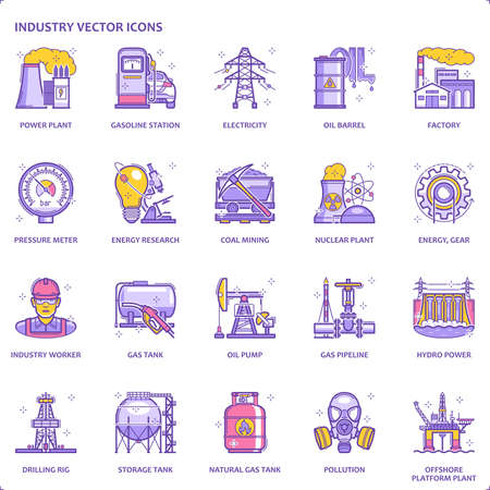 Color line energy industry flat icon set | Vector fills (filled outline) / stroke pixel perfect illustrations / icons Иллюстрация