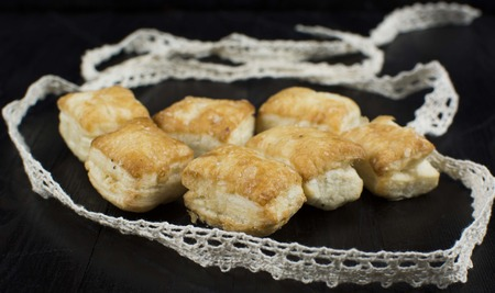 biscuits: Pastries, puff pastry, on a dark background