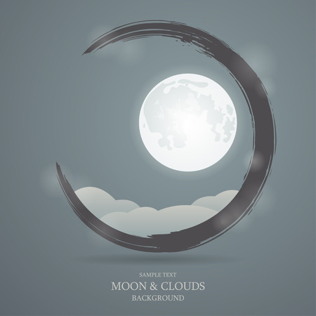 moon surface: Vector background with the image of the moon and clouds Illustration