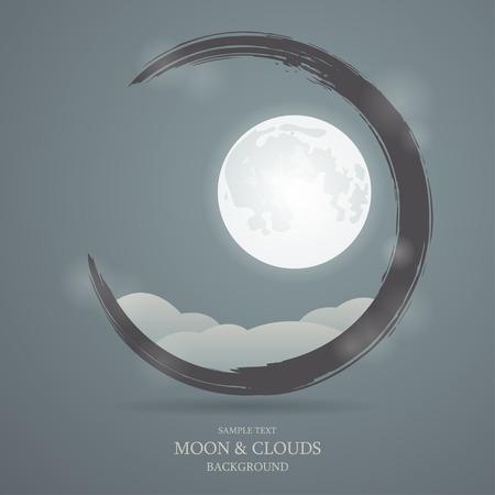 completo: Vector de fondo con la imagen de la luna y las nubes Vectores