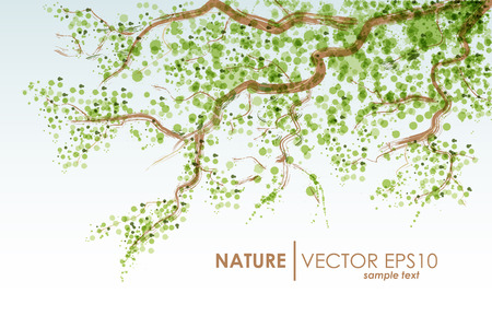 Natural background. Vector grunge. Tree branch with green leaves Ilustracja