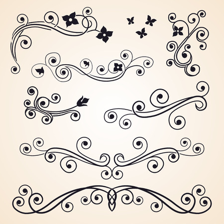 antique art: Curly design floral elements Illustration
