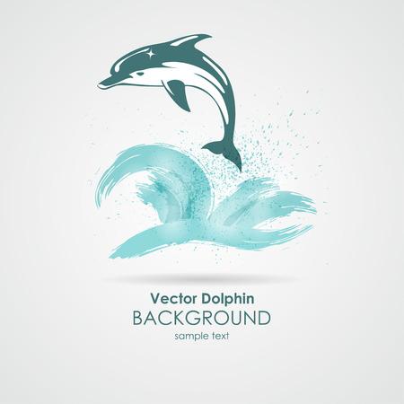 dolphin: Dolphin dans les projections d'eau Illustration