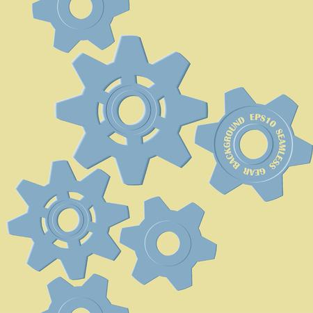 Seamless blue background gears Ilustracja